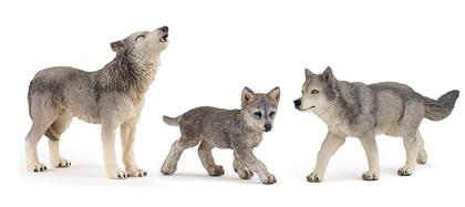 Figurines : loup hurlant, louve, louveteau