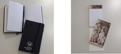 Carnet A6 logotypé musée et mini bloc-notes