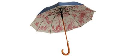 Parapluie Toile de Jouy (ext bleu marine ou gris, int. bordeau), manche en bois