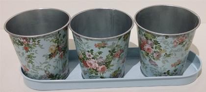 Jardinière avec 3 pots décor de roses